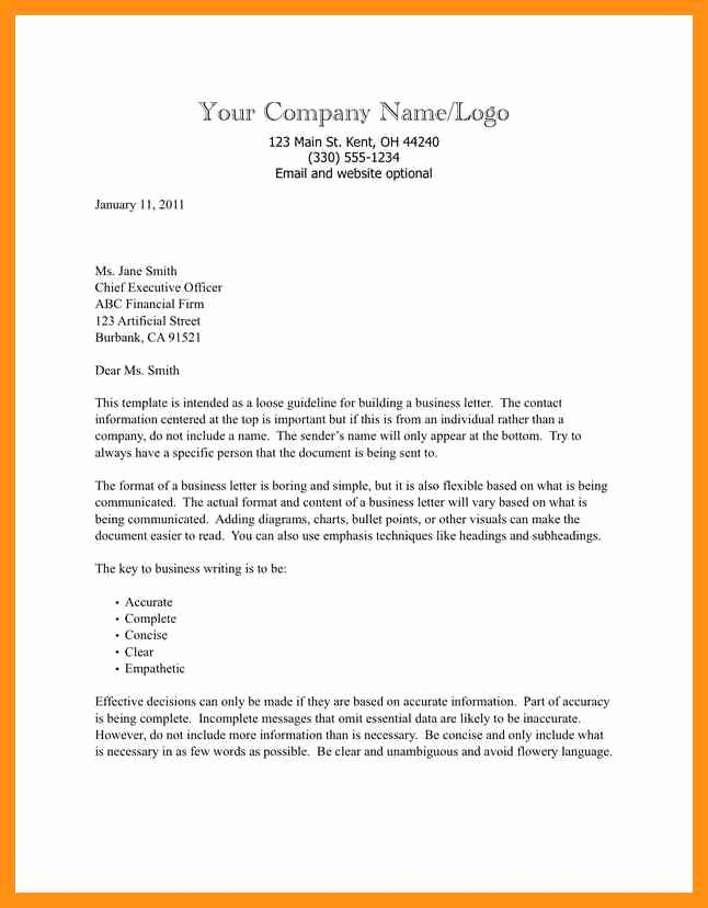 Open Office Business Letter Templates Luxury Business Letter format Template