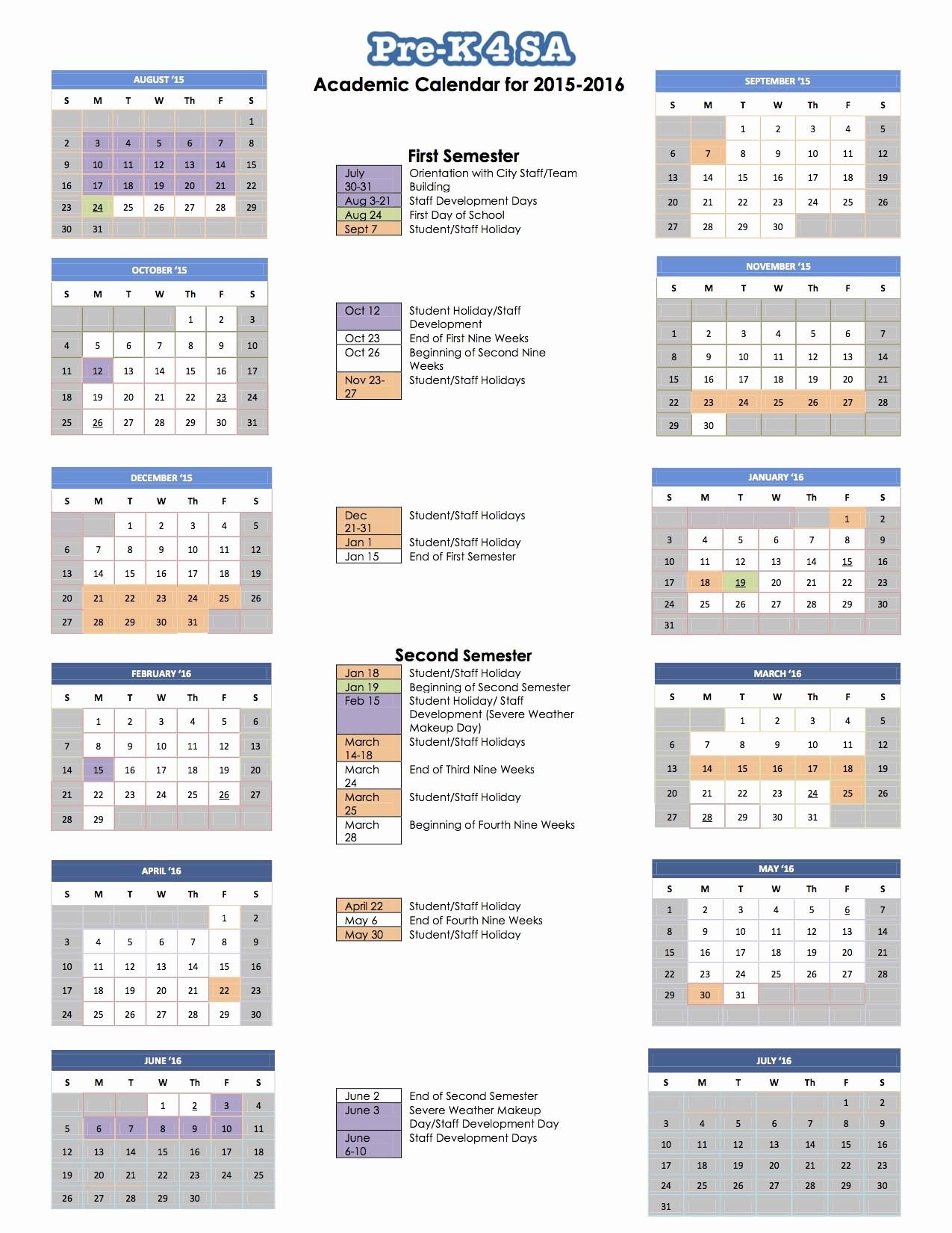 Open Office Calendar Template 2016 Awesome 2016 School Calendar