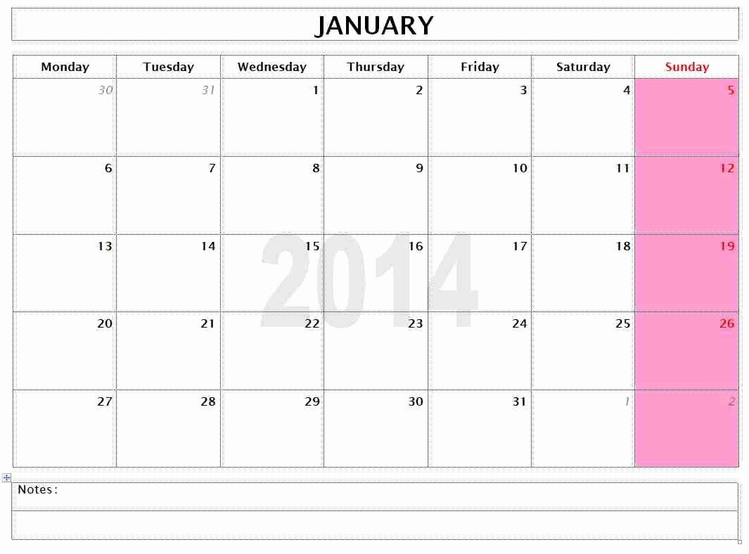 Open Office Calendar Template 2016 Inspirational 2014 Monthly Calendar Template