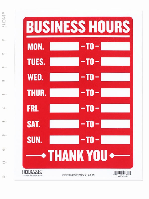 Opening Hours Template Microsoft Word Best Of Business Hours Sign • Open Mon Sun Write In From to Times