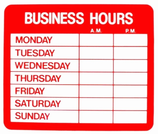Opening Hours Template Microsoft Word Fresh Fice Hours Sign Template Word Relevant Principal Imagine
