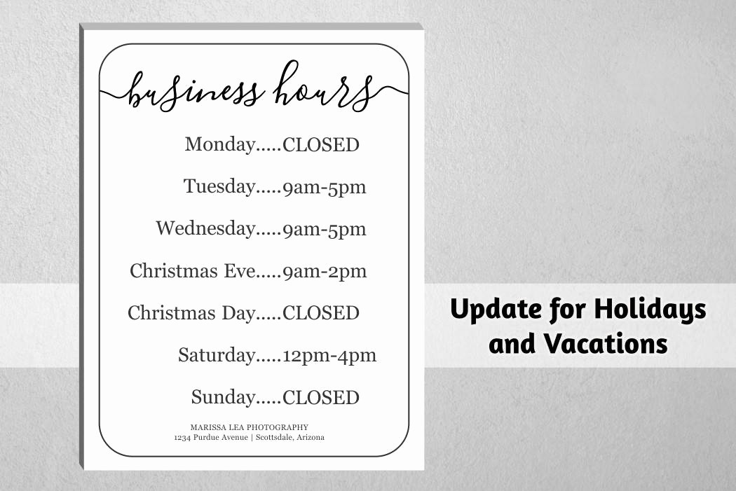 Opening Hours Template Microsoft Word Luxury Business Hours Sign Printable Template Hours Of