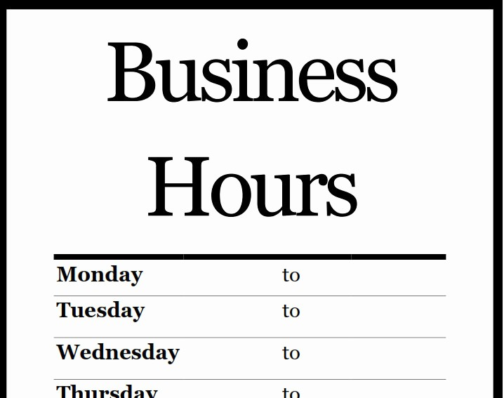 Opening Hours Template Microsoft Word New Business Hours Template
