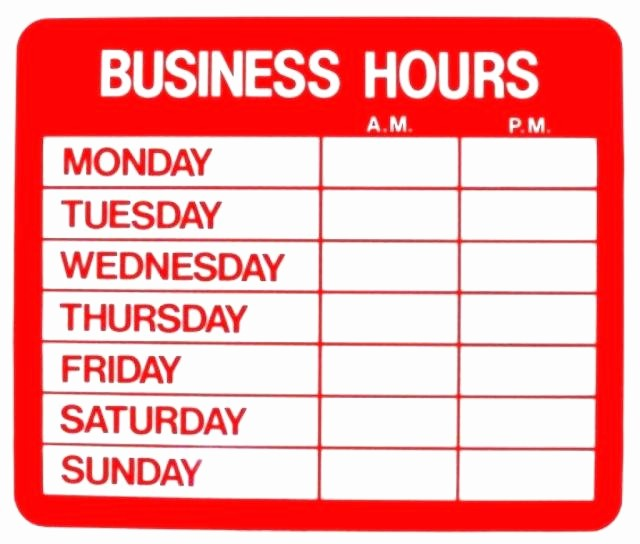Opening Hours Template Microsoft Word New Fice Hours Sign Template Opening Hours Template Word