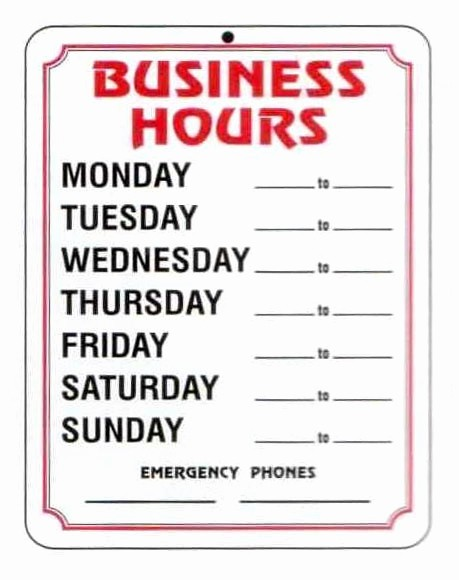 Opening Hours Template Microsoft Word Unique 4 Best Of Free Printable Business Hours Sign