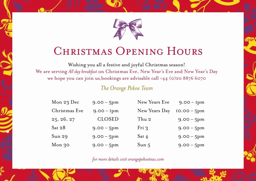 Opening Hours Template Microsoft Word Unique Christmas Opening Hours Template Word Templates Data