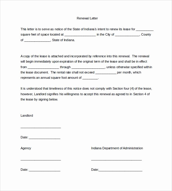 Option to Extend Lease Letter Awesome 10 Lease Renewal Letter Templates – Pdf Word