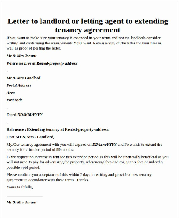 Option to Extend Lease Letter Awesome Lease Agreement Extension Letter