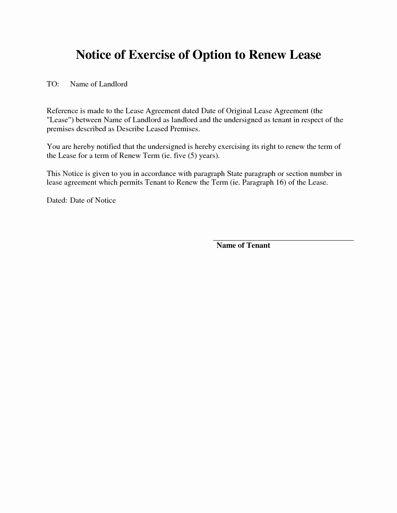 Option to Extend Lease Letter Elegant Letter Intent to Renew Lease Template Refrence Exercise