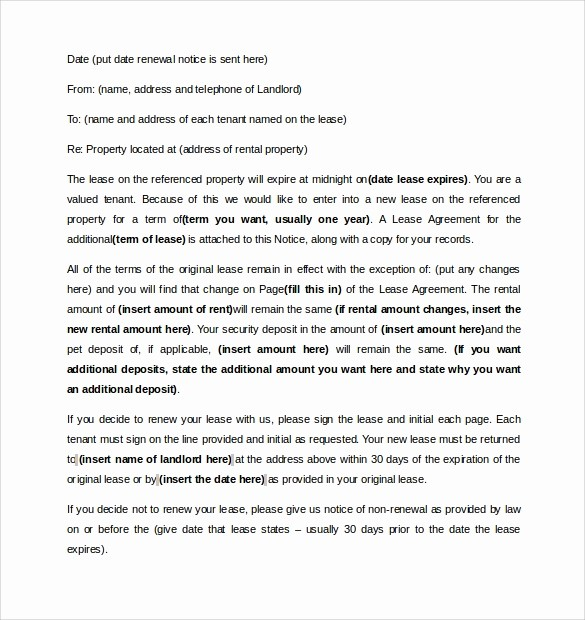 Option to Extend Lease Letter Inspirational 10 Lease Renewal Letter Templates – Pdf Word