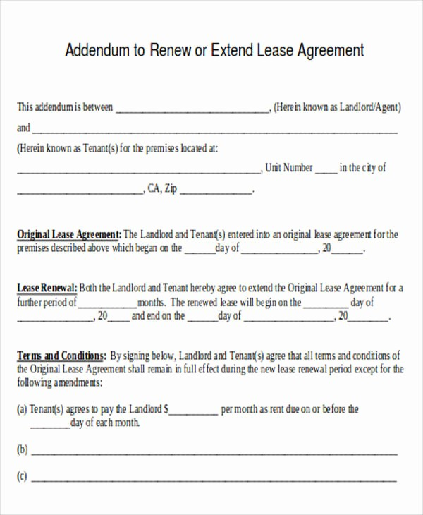 Option to Extend Lease Letter Inspirational 35 Agreement Letter formats