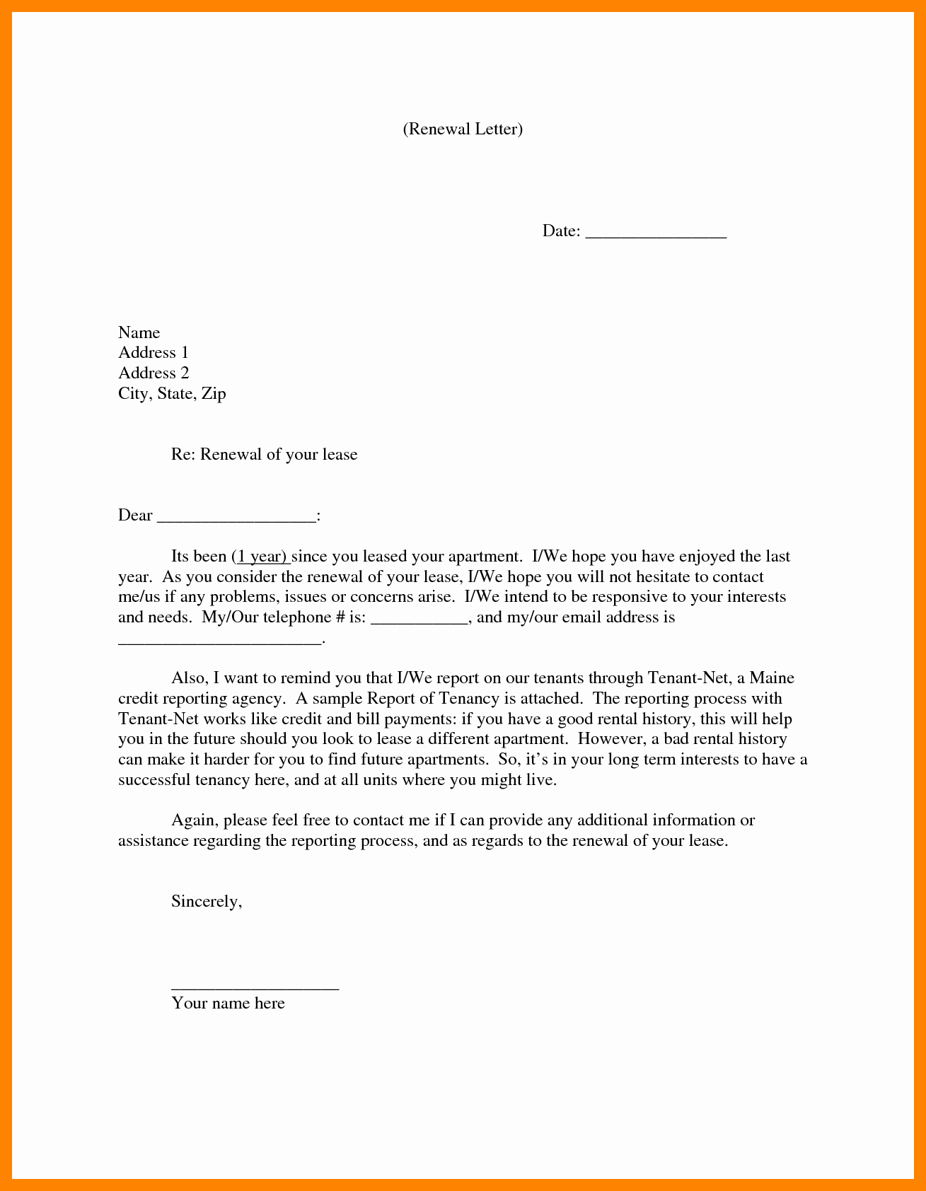 Option to Extend Lease Letter Inspirational Lease Renewal Agreement