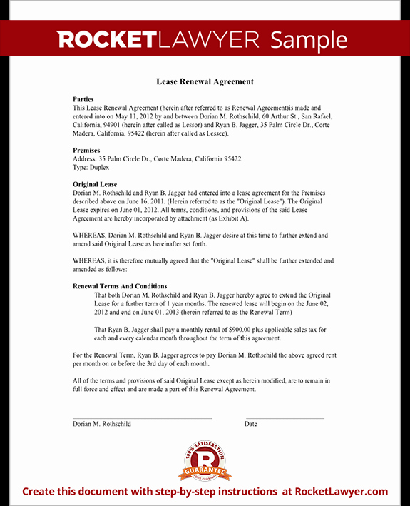 Option to Extend Lease Letter Lovely Lease Renewal Agreement form Rental Lease Renewal with