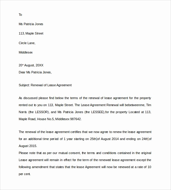 Option to Extend Lease Letter Lovely Lease Renewal Letter 9 Download Free Documents In Pdf Word