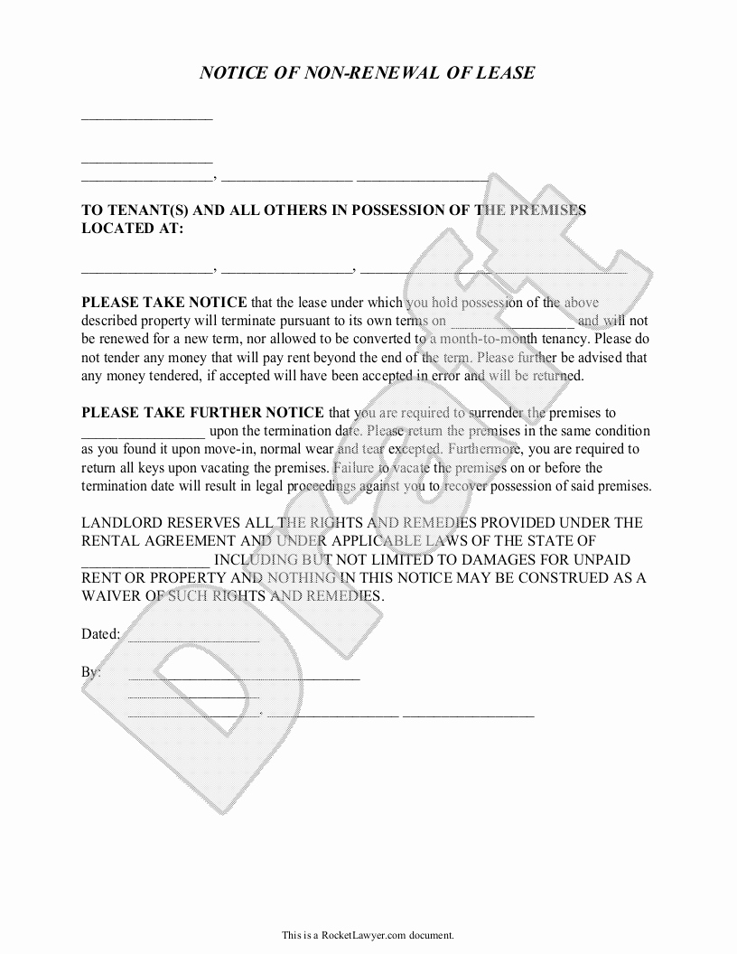 Option to Renew Lease form Awesome Not Renewing Apartment Lease Sample Letter Latest