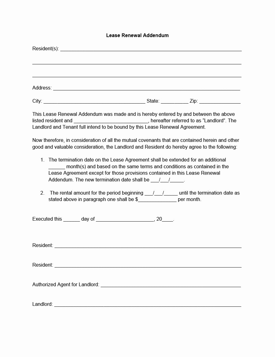 Option to Renew Lease form Best Of 36 Best Lease Renewal Letters & forms Word & Pdf