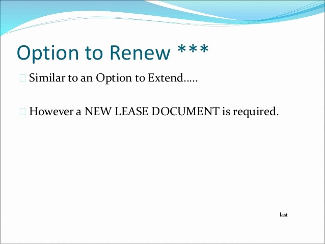 Option to Renew Lease form Elegant Mercial Leasing