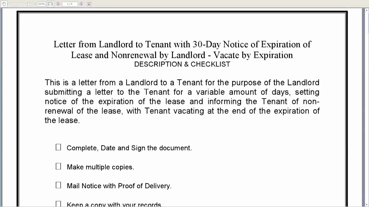 Option to Renew Lease form Fresh Landlord to Tenant 30 Day Notice Of Expiration Of Lease