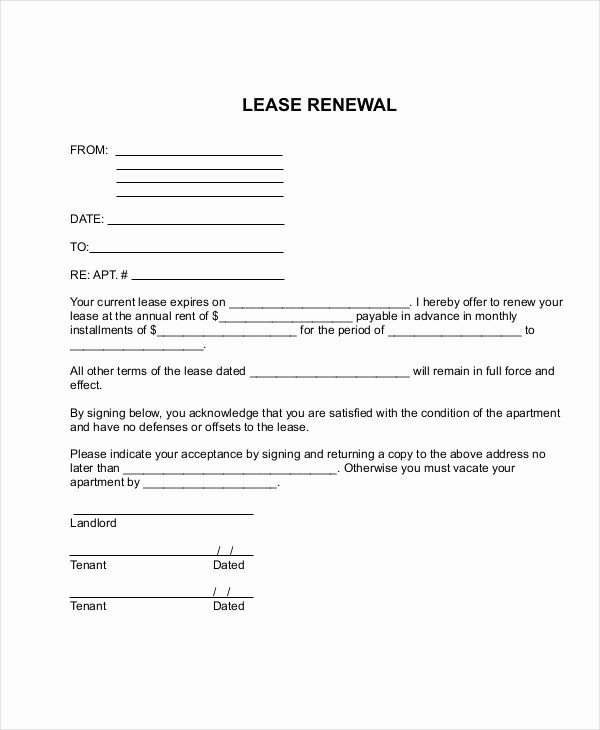 Option to Renew Lease form Fresh Sample Apartment Lease forms 7 Free Documents In Pdf Word