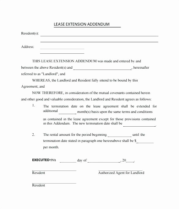 Option to Renew Lease form Inspirational Lease Extension Template Lease Extension Agreement form
