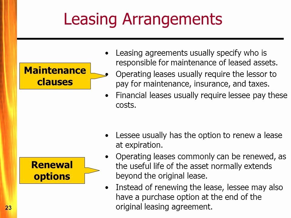 Option to Renew Lease form Inspirational Long Term Debt and Leasing Ppt Video Online