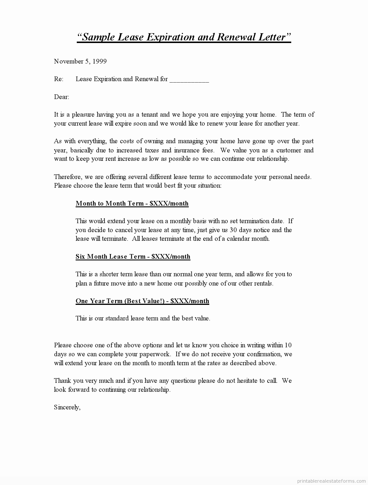 Option to Renew Lease form Inspirational Printable Sample Lease Expiration and Renewal Letter