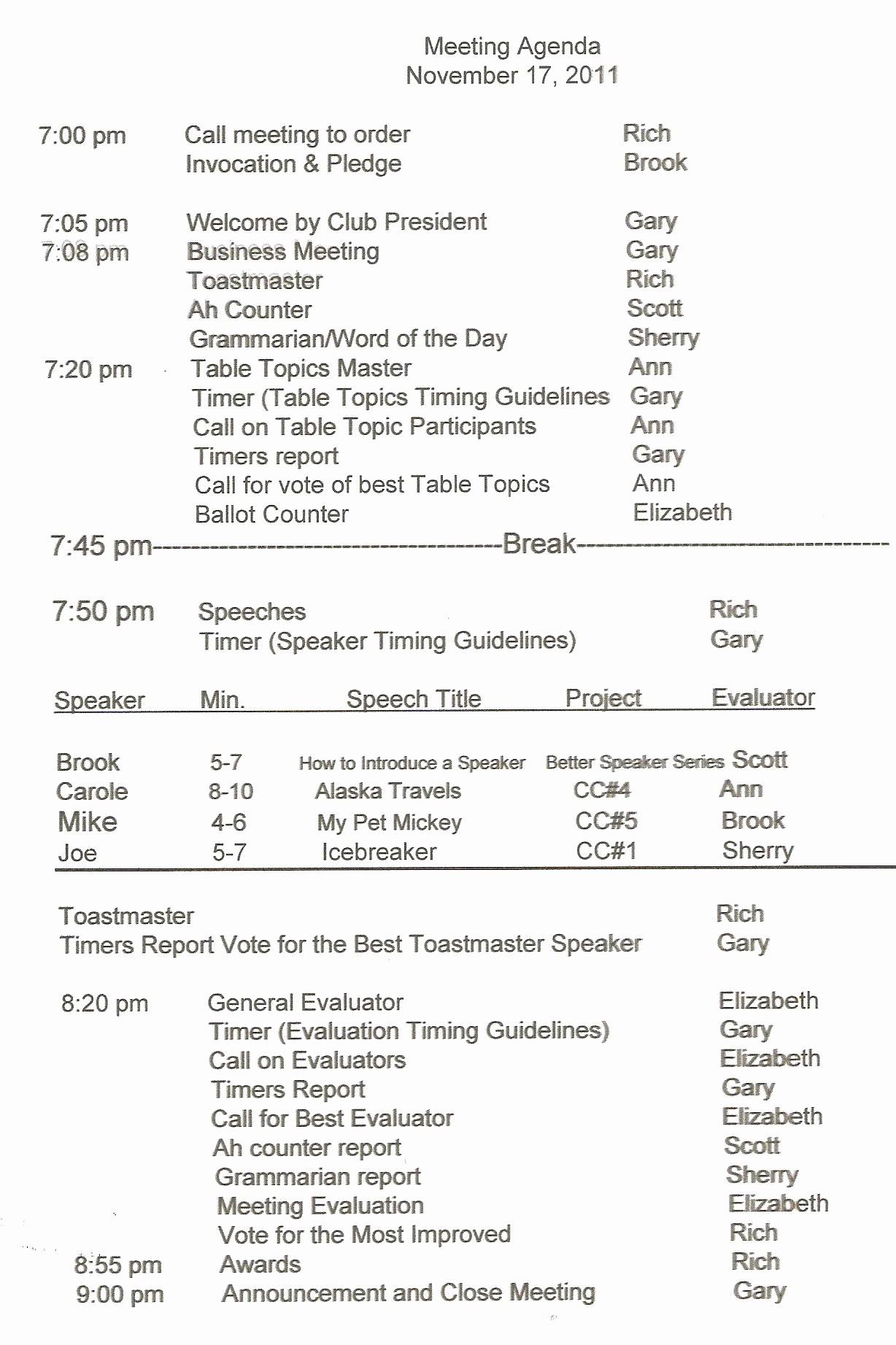 meeting agenda outline