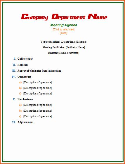 Order Of Business Meeting Agenda Beautiful 7 formal Meeting Bookletemplate
