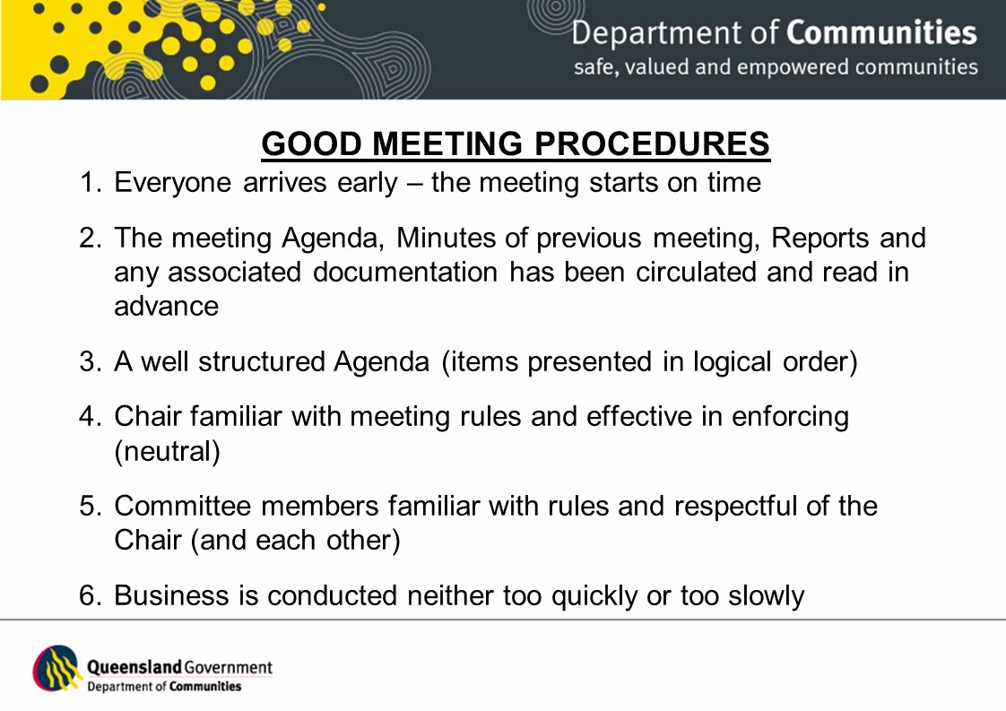 Order Of Business Meeting Agenda Best Of Conducting Effective Mittee Meetings Ppt