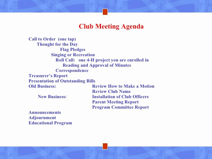Order Of Business Meeting Agenda Best Of New 4 H Club Leaders Lesson Four