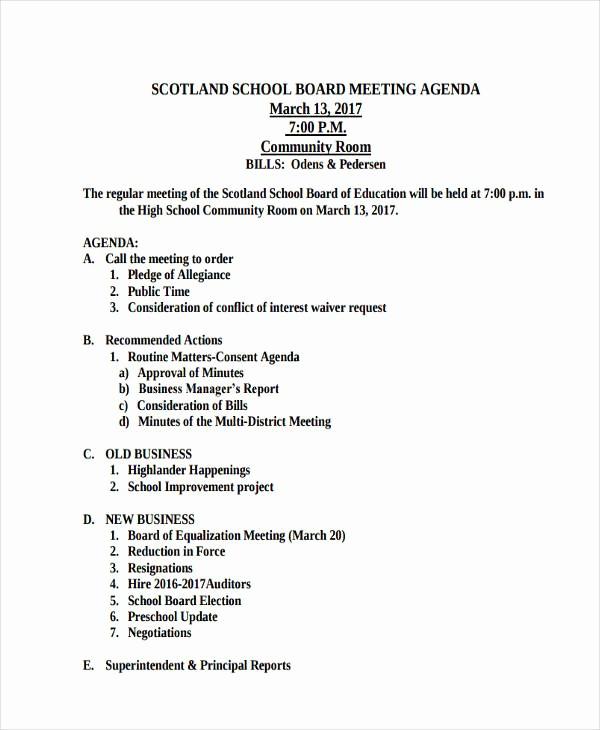 Order Of Business Meeting Agenda Elegant 46 Meeting Agenda Templates
