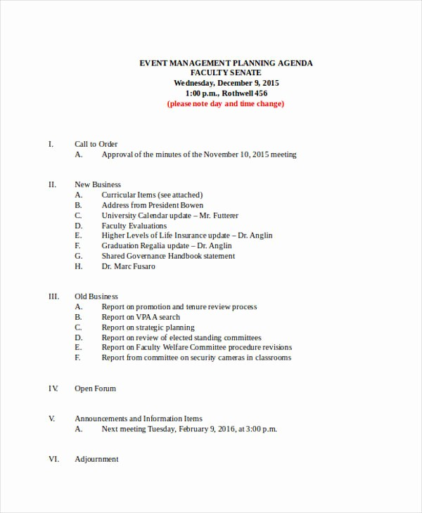 Order Of Business Meeting Agenda Fresh 22 event Agenda Examples