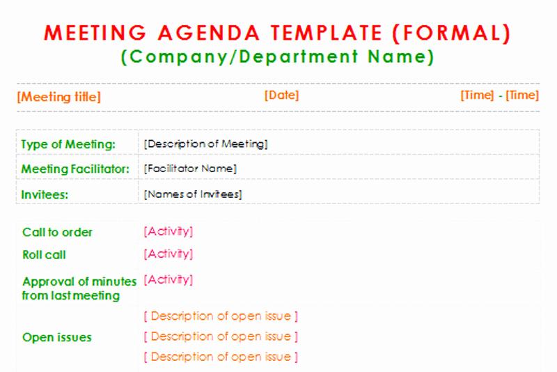 Order Of Business Meeting Agenda Inspirational formal Meeting Agenda Template for Word Dotxes