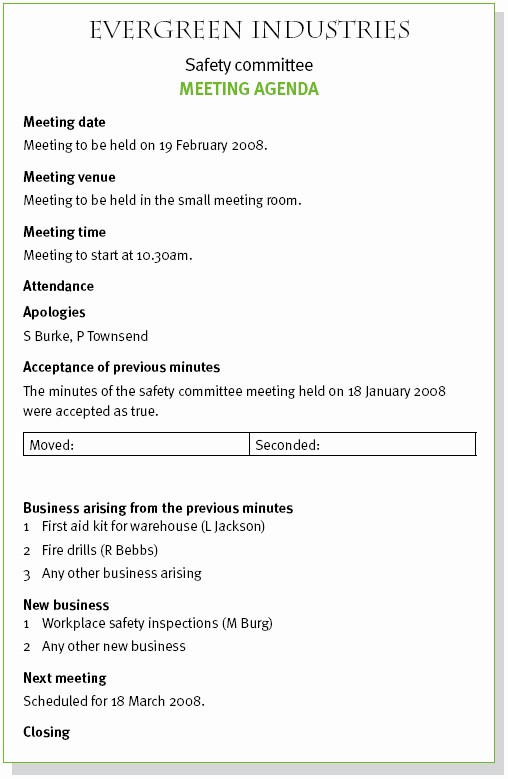 Order Of Business Meeting Agenda Lovely Consumer Training and Support Project