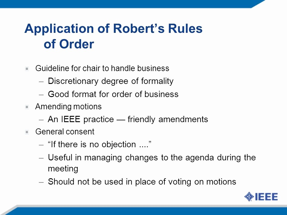 Order Of Business Meeting Agenda Lovely Robert's Rules Of order Ppt Video Online