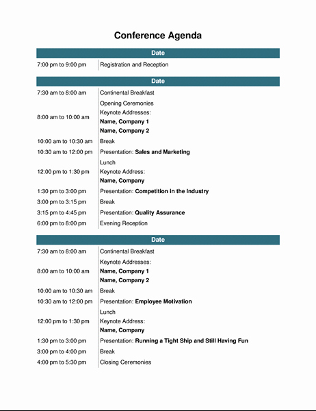 Order Of Business Meeting Agenda Luxury Conference Agenda