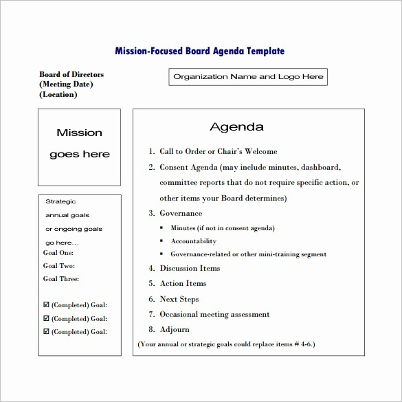 Order Of Business Meeting Agenda New 6 Meeting Outline Templates Doc Pdf