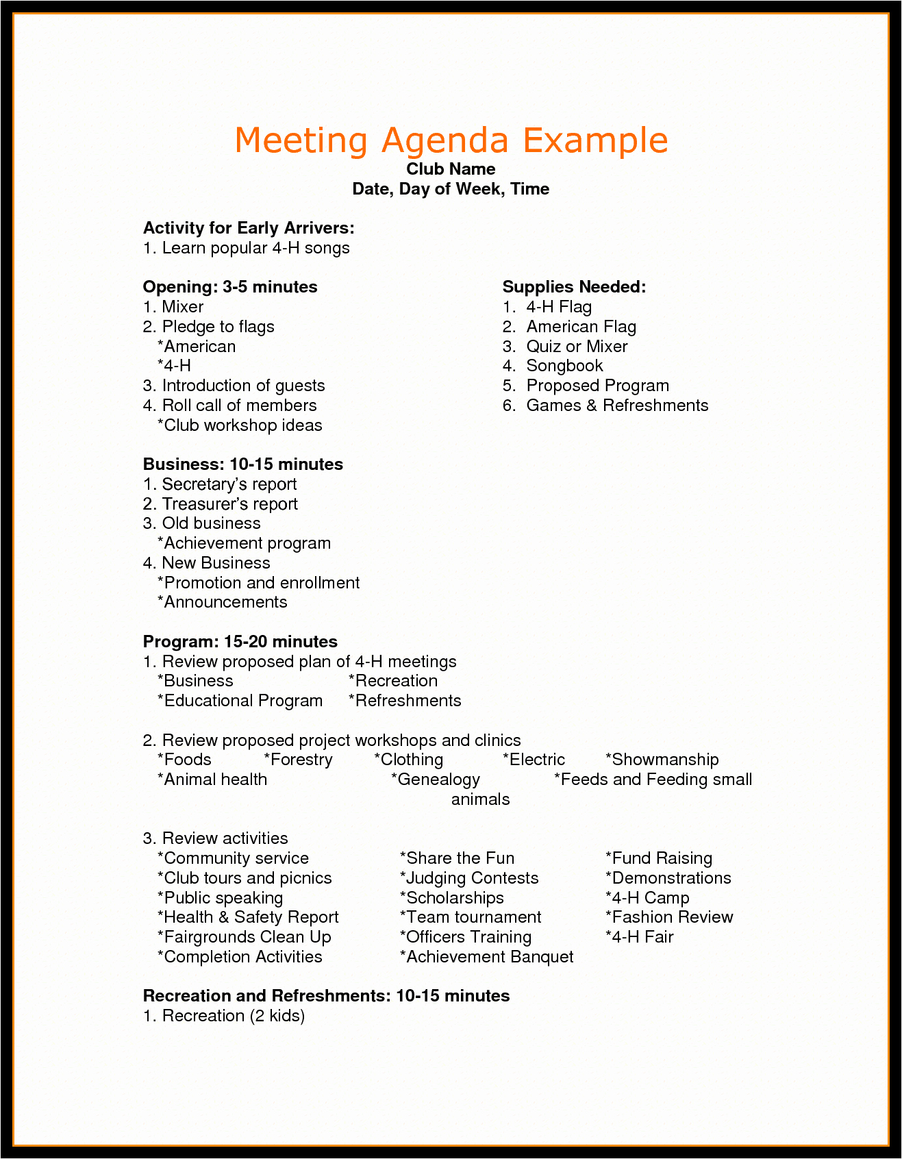 Order Of Business Meeting Agenda Unique Agenda for Meeting Example Mughals