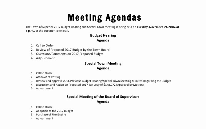 Order Of Business Meeting Agenda Unique Bud Hearing town Meeting & Board Agendas town Of