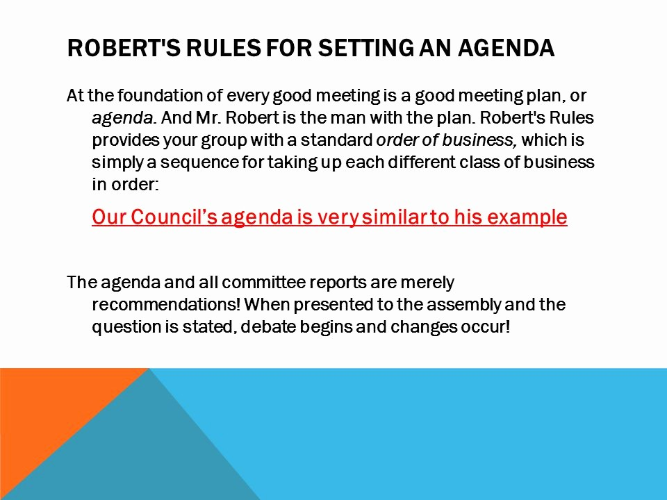 Order Of Business Meeting Agenda Unique Robert S Rules Of order Summary Version Ppt Video