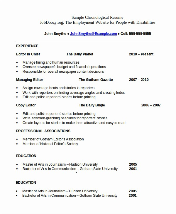 Origin Of the Word Resume Best Of Chronological Resume Template 28 Free Word Pdf