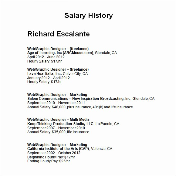 Origin Of The Word Resume Luxury 9 Sample Salary History Templates To Download For Free