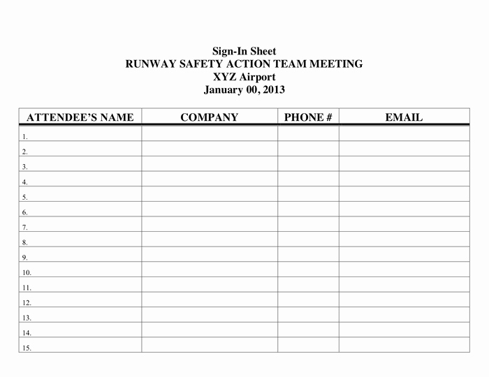 Osha Training Sign In Sheet Beautiful Printable Sign In Sheet In Word and Pdf formats