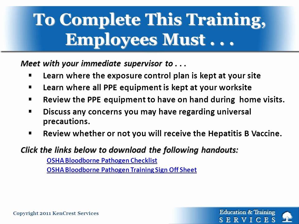 Osha Training Sign In Sheet New Universal Precautions Osha Ppt Video Online
