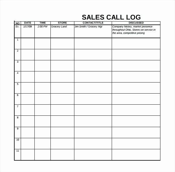 Outside Sales Call Log Template Inspirational Sales Call Log Template Equipped Tracking Excel and