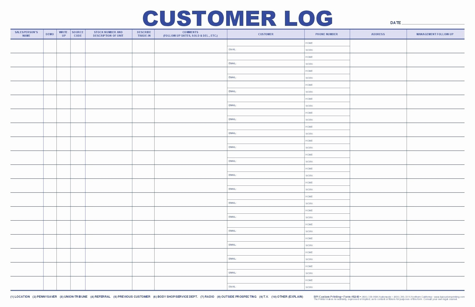 Outside Sales Call Log Template New Jumbo Customer Log Bpi Dealer Supplies