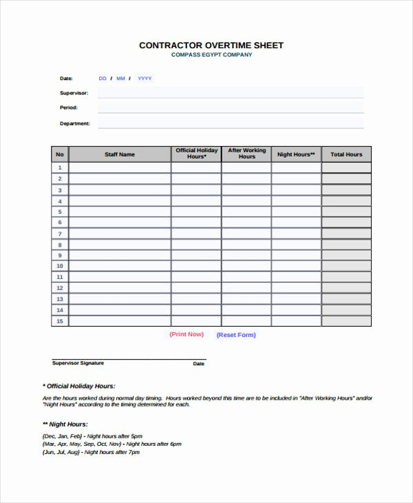 Overtime Sign Up Sheet Template Awesome Overtime Sheet Templates 11 Free Word Pdf format