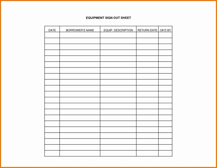 Overtime Sign Up Sheet Template Elegant Equipment Sign Out Sheet Template