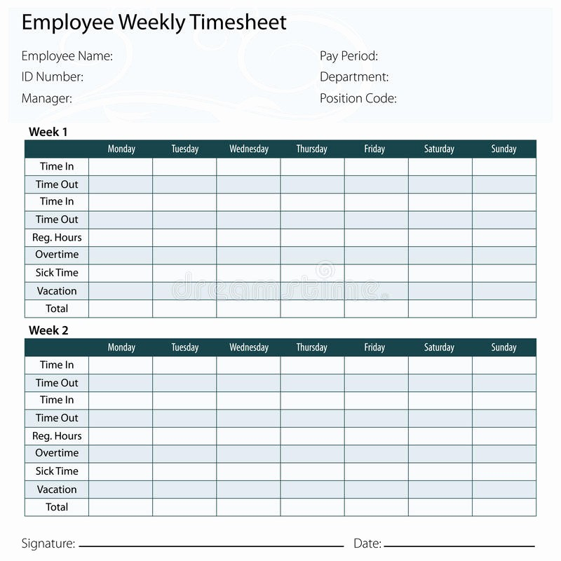 Overtime Sign Up Sheet Template New Employee Timesheet Template Stock Image
