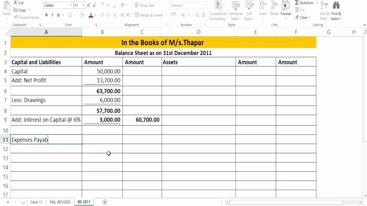 P and L Sheet Example Fresh Preparation Of Revised P&l and Balance Sheet Case Study